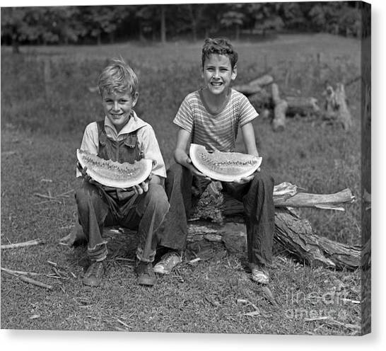 Watermelons Canvas Print - Boys Eating Watermelons, C.1940s by H. Armstrong Roberts/ClassicStock