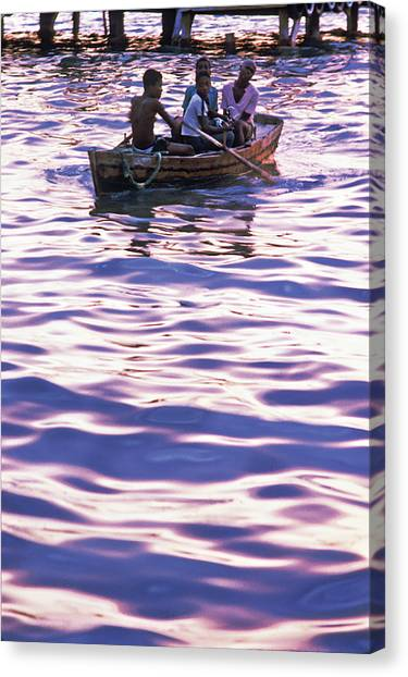 Boys On Boat Canvas Print