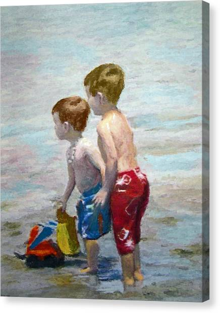 Boys On The Beach Canvas Print