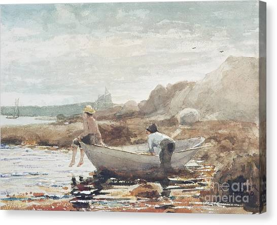 Low Tide Canvas Print - Boys On The Beach by Winslow Homer