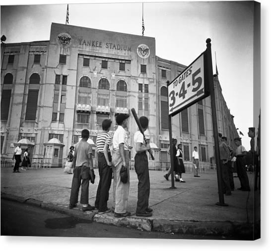 Yankee Stadium Canvas Print - Boys Staring At Yankee Stadium by MotionAge Designs