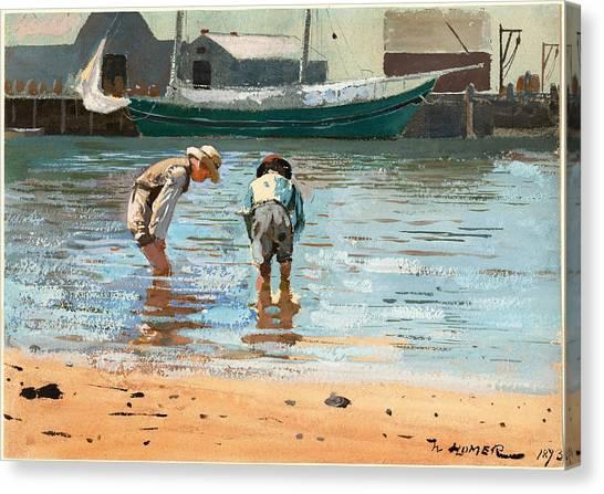 Boys Wading Canvas Print