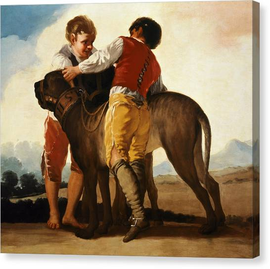 Mastiffs Canvas Print - Boys With Mastiff by Goya