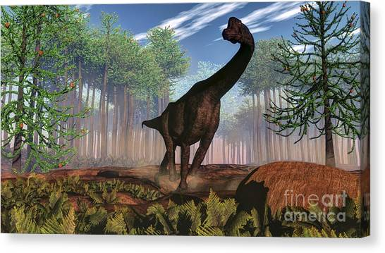 Brachiosaurus Canvas Print - Brachiosaurus Dinosaur Amongst An by Elena Duvernay