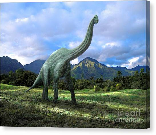 Brachiosaurus Canvas Print - Brachiosaurus In Meadow by Frank Wilson