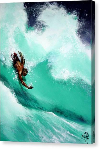 Brad Miller In Makaha Shorebreak Canvas Print