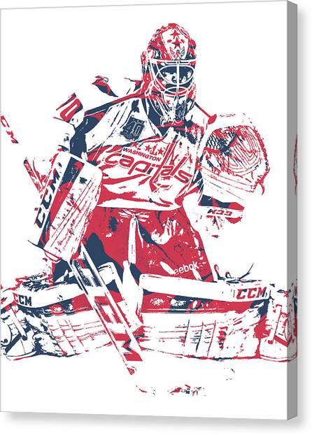 Washington Capitals Canvas Print - Braden Holtby Washington Capitals Pixel Art 11 by Joe Hamilton