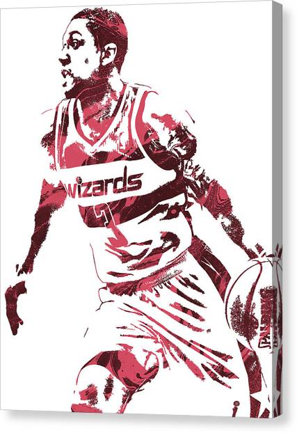 Washington Wizards Canvas Print - Bradley Beal Washington Wizards Pixel Art 3 by Joe Hamilton