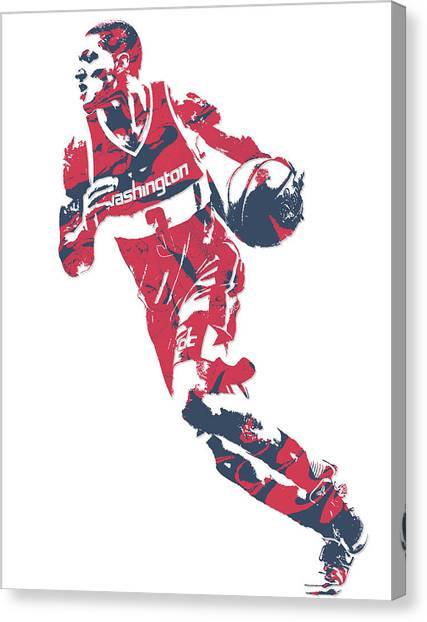 Washington Wizards Canvas Print - Bradley Beal Washington Wizards Pixel Art 7 by Joe Hamilton