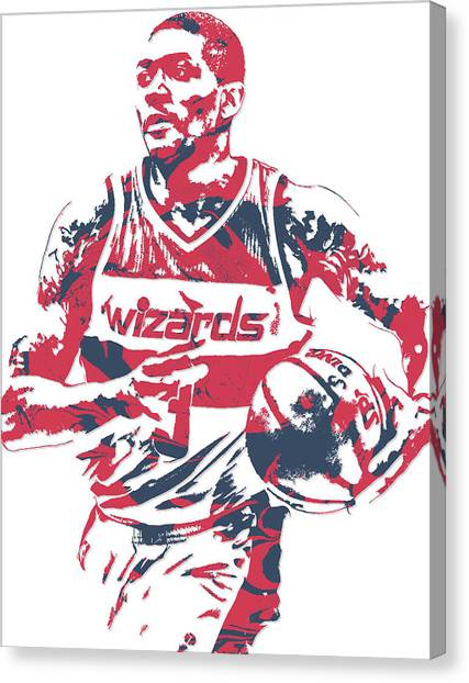 Washington Wizards Canvas Print - Bradley Beal Washington Wizards Pixel Art 8 by Joe Hamilton