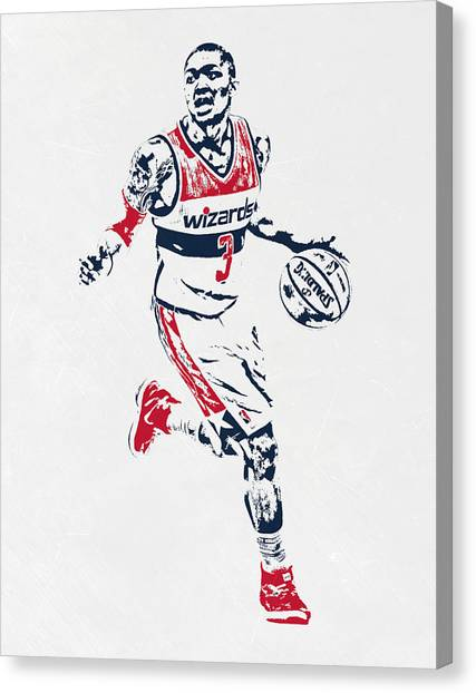 Washington Wizards Canvas Print - Bradley Beal Washington Wizards Pixel Art by Joe Hamilton