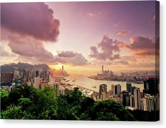 Hong Kong Canvas Print - Braemar Hill Sunset by Dragon For Real