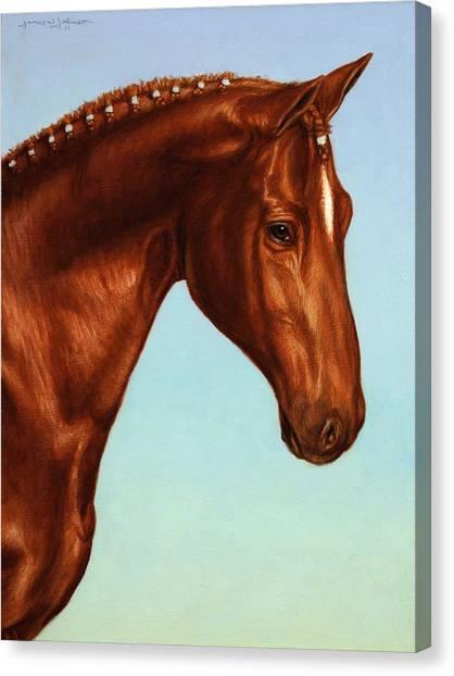Horse Ranch Canvas Print - Braided by James W Johnson