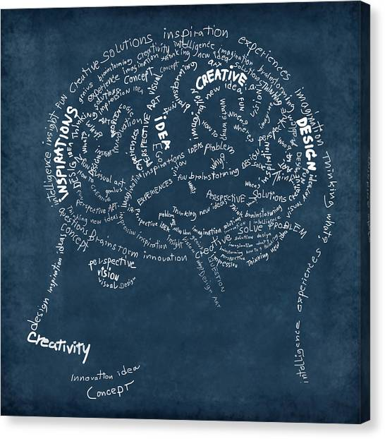 Brain Drawing On Chalkboard Canvas Print