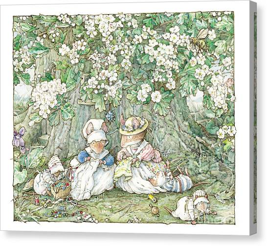 Tree Canvas Print - Brambly Hedge - Hawthorn Blossom And Babies by Brambly Hedge