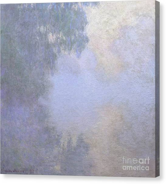 Overhang Canvas Print - Branch Of The Seine Near Giverny  Mist by Claude Monet