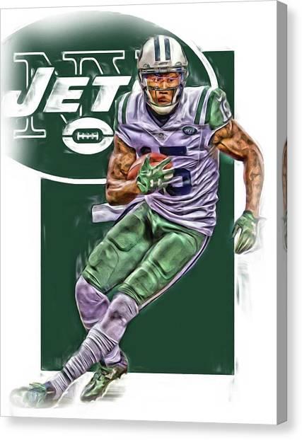 New York Jets Canvas Print - Brandon Marshall New York Jets Oil Art by Joe Hamilton