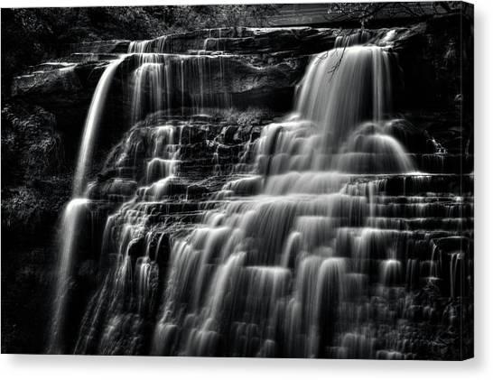 Brandywine Falls At Cuyahoga Valley National Park B W Canvas Print
