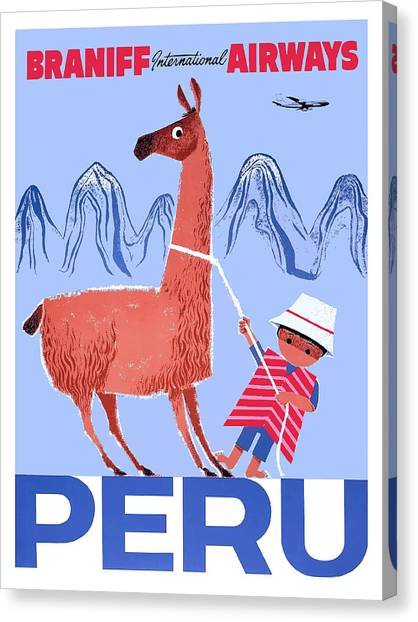 South American Canvas Print - Braniff Airways Peru Child And Llama Travel Poster by Retro Graphics