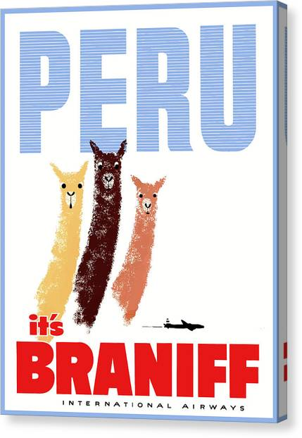 South American Canvas Print - Braniff Airways Peru Llamas Travel Poster by Retro Graphics