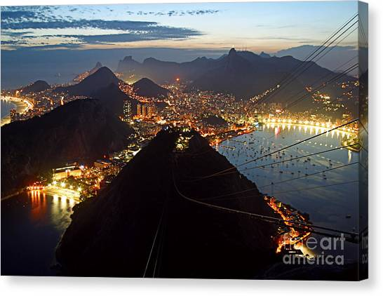 Canvas Print featuring the photograph Brasil,rio De Janeiro,pao De Acucar,viewpoint,panoramic View,copacabana At Night by Juergen Held
