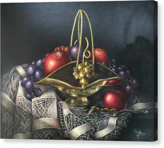 Brass Basket Canvas Print by Michelle Kerr