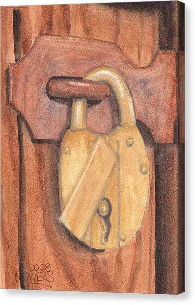 Brass Lock On Wooden Door Canvas Print