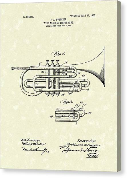 Brass Musical Instrument 1906 Patent Canvas Print