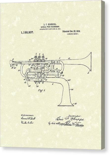Brass Instruments Canvas Print - Brass Musical Instrument 1914 Patent by Prior Art Design