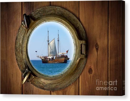 Pirate Canvas Print - Brass Porthole by Carlos Caetano