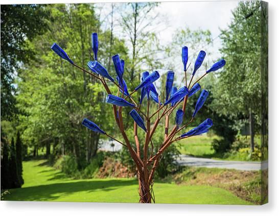 Brass Tree, Blue Bottle Leaves Canvas Print