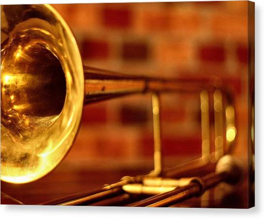 Trombones Canvas Print - Brass Trombone by David  Hubbs