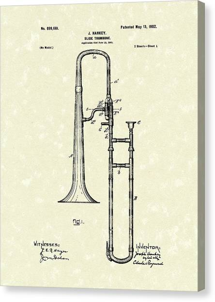 Trombones Canvas Print - Brass Trombone Musical Instrument 1902 Patent by Prior Art Design