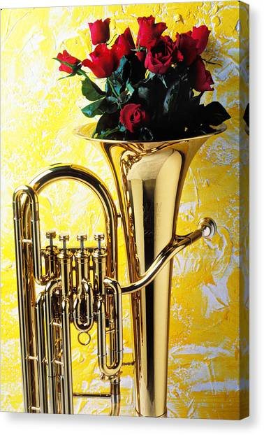 Brass Instruments Canvas Print - Brass Tuba With Red Roses by Garry Gay