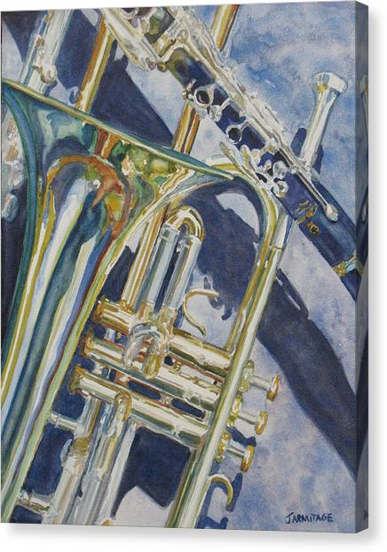 Clarinets Canvas Print - Brass Winds And Shadow by Jenny Armitage