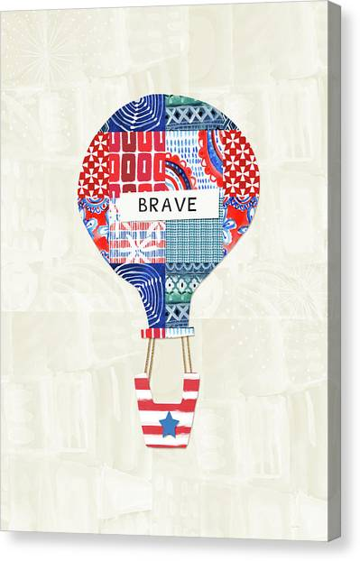 Hot Air Balloons Canvas Print - Brave Balloon- Art By Linda Woods by Linda Woods