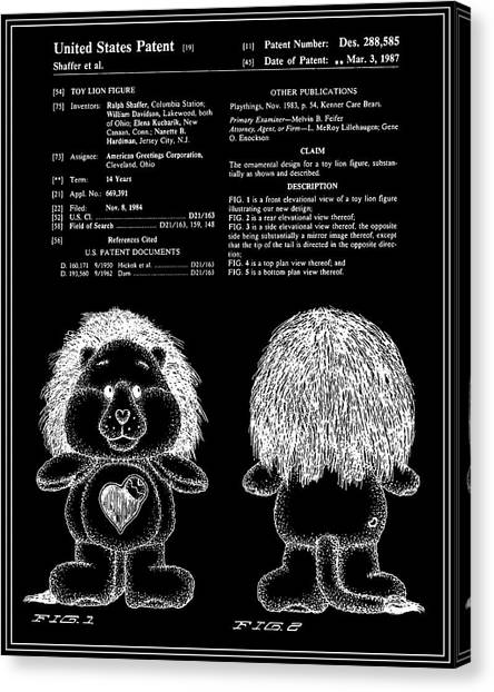 Care Bears Canvas Print - Brave Heart Lion Patent - Black by Finlay McNevin