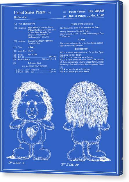Care Bears Canvas Print - Brave Heart Lion Patent - Blueprint by Finlay McNevin