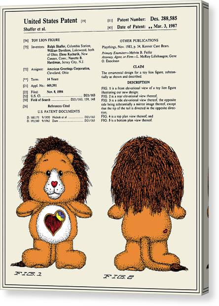 Care Bears Canvas Print - Brave Heart Lion Patent by Finlay McNevin