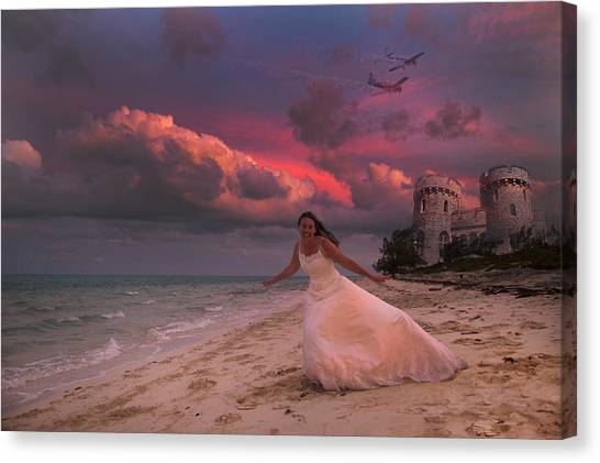 Wedding Gown Canvas Print - Brave New World Dimensions Custom by Betsy Knapp