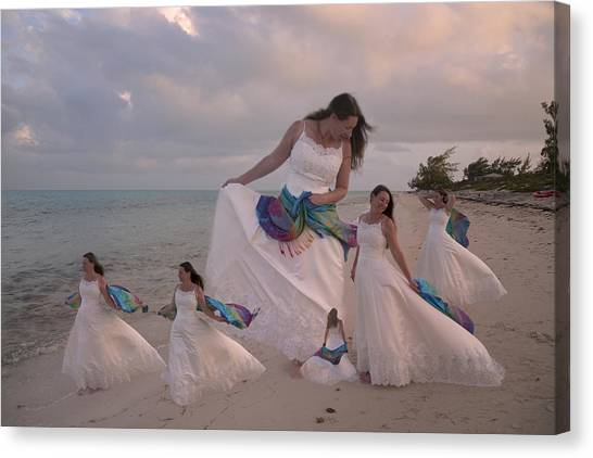 Wedding Gown Canvas Print - Brave New World Dimensions Custom Sample by Betsy Knapp