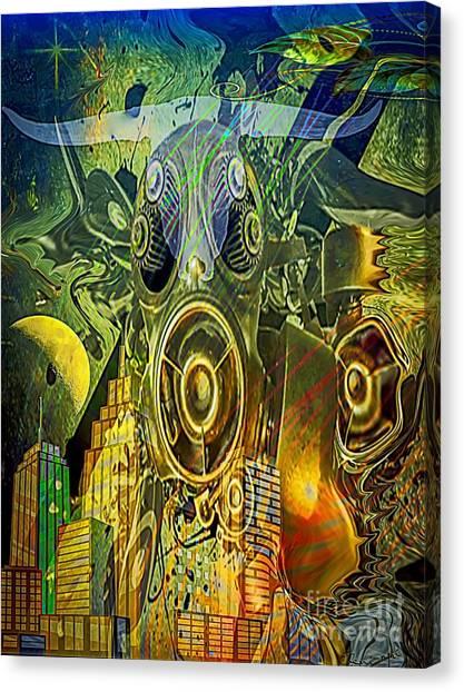Canvas Print featuring the digital art Brave New World by Eleni Mac Synodinos