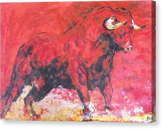 Brave Red Bull Canvas Print