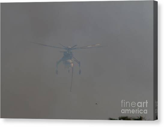 Skycrane Canvas Print - Brave Souls - Emerging From The Smoke by Craig Corwin