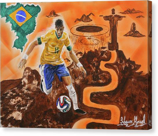 Neymar Jr Canvas Print - Brazil by Shawn Morrel