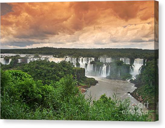 Canvas Print featuring the photograph Brazil,iguazu Falls,spectacular View by Juergen Held