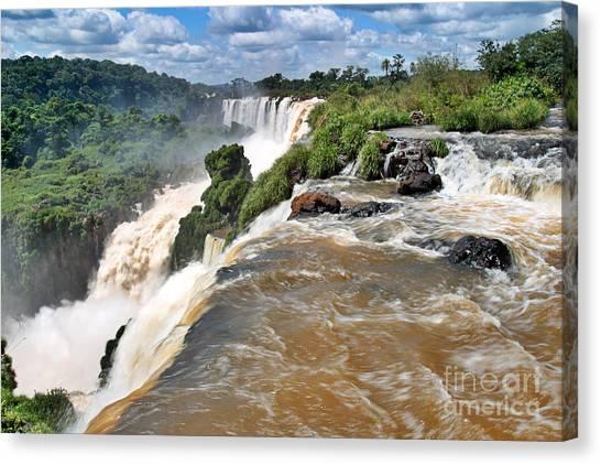 Canvas Print featuring the photograph Brazil,iguazu Falls, by Juergen Held