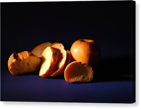 Bread And Apple Canvas Print by William Thomas