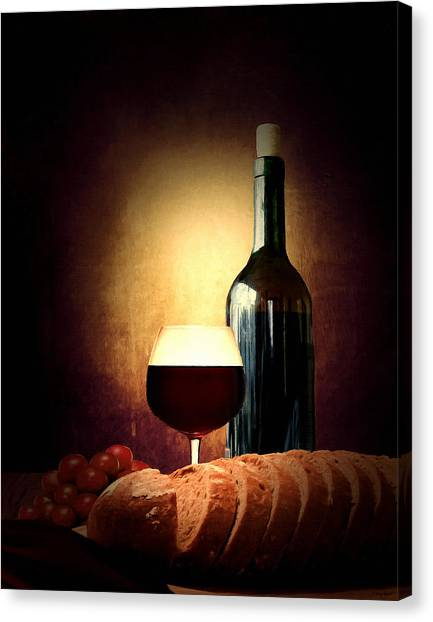 Wine Barrels Canvas Print - Bread And Wine by Lourry Legarde