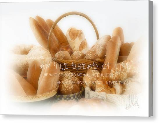 Linda King Canvas Print - Bread Arrangement #2 - With Scripture by Linda King